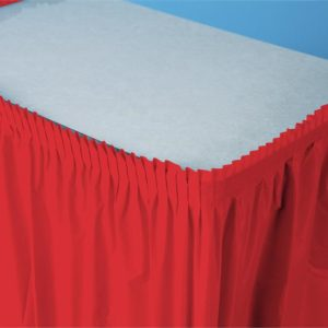 """Classic Red 14'x29"""" Plastic Table Skirts"""