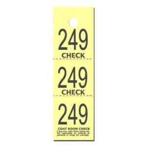 Yellow 3 Part Coat Check Tickets